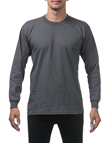 Pro Club Men's Heavyweight Cotton Long Sleeve Crew Neck T-Shirt, X-Large, Graphite