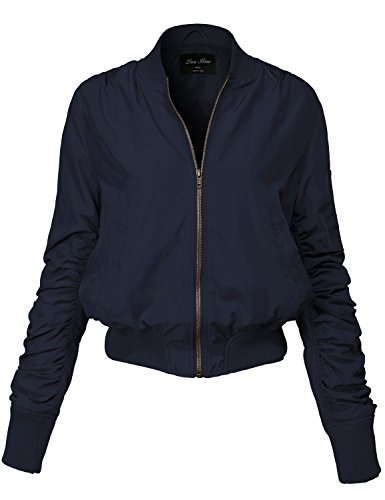 Warm Solid Color Shirring Sleeve Zipped Bomber Jackets 143-navy Large