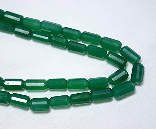 Green Onyx Tube Shape Beads, Faceted Tube Beads Gemstone for Jewelry, Briolette Beads, 8x15mm Approx 5 inch Strand by LadoNarayani