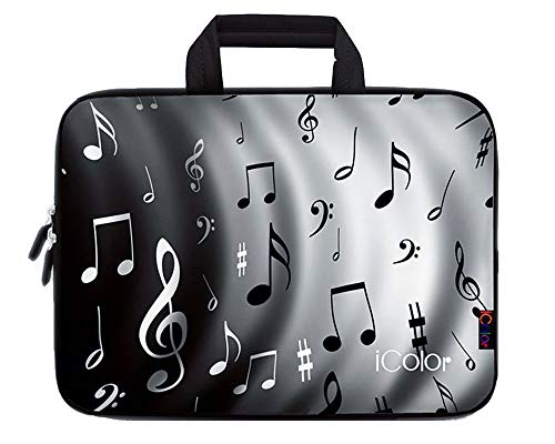 """iColor Music Note 17"""" 17.3"""" 17.4 Inch Neoprene Laptop Carrying Bag Travel Briefcase Portable Netbook/Notebook Sleeve Case with Handle Fits 16.5""""-17.4"""" Dell Acer HP Lenovo Asus (IHB17-02)"""