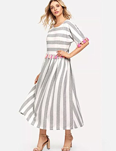 Women's Sleeved Striped Round Tassel Dress Loose Trim Colorful Dress Short Neck Maix Casual AINORS dnCpYwqd