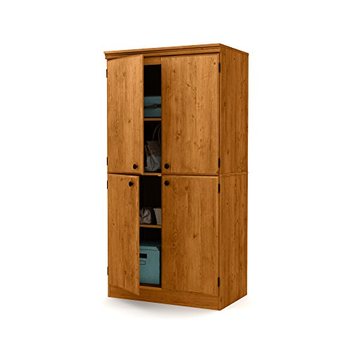 (South Shore Tall 4-Door Storage Cabinet with Adjustable Shelves, Country Pine)
