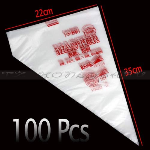 100Pcs/Set Disposable Pastry Bag Icing Piping Cake Pastry Cupcake Decorating Bags Large ()