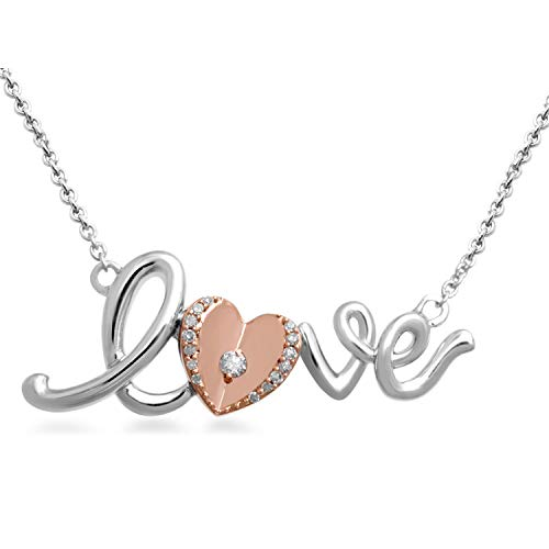 Jewelili 18kt Rose Gold Plated Sterling Silver Natural White Diamond Accent LOVE Pendant Necklace, 18