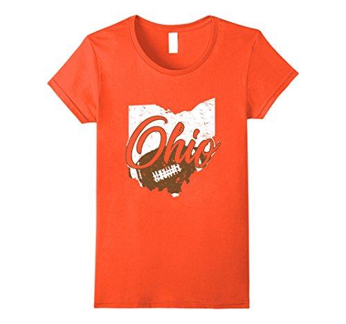 Womens Ohio Cleveland Sports Fan Football T-Shirt Medium Orange Orange Football Fan T-shirt