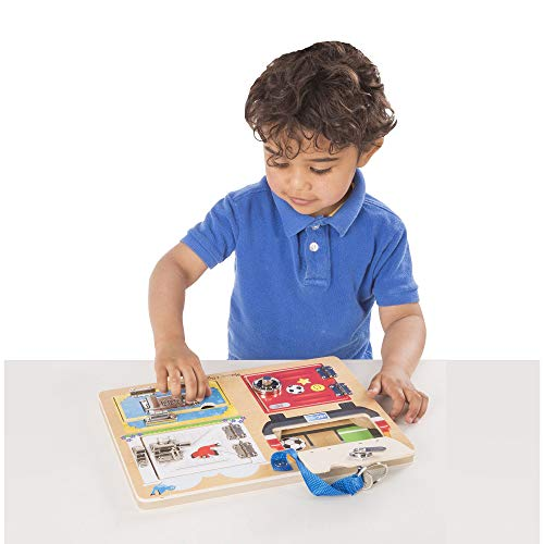 Melissa & Doug Locks & Latches Board Wooden Educational Toy (Sturdy Wooden Construction, Helps Develop Fine-Motor Skills) by Melissa & Doug (Image #1)