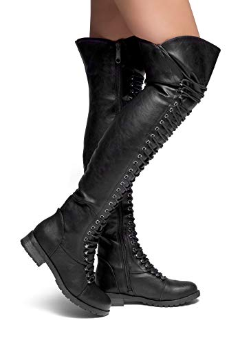 Lace Boots Military (Herstyle Kristrrina Women Military Lace Up Thigh High Combat Bootss Black 11)