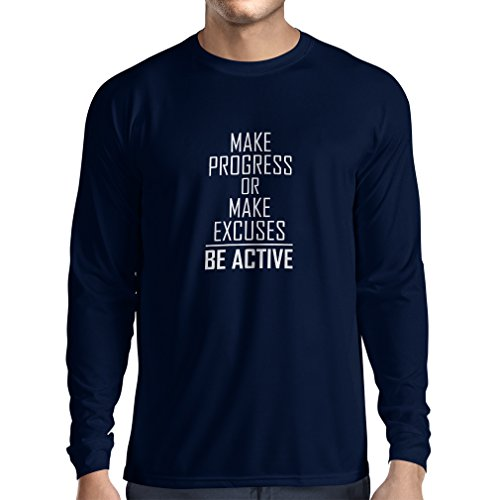 N4220L Long sleeve t shirt men Make Progress or make Excuses - BE ACTIVE (XX-Large Blue White)