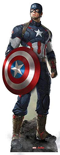 Star Cutouts Official Marvel Avengers Movie Lifesize Cardboard Cut Out of Captain America / Steve Rogers (Chris Evans) 190cm Tall 71cm -