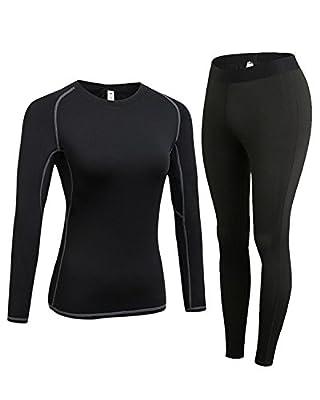 LNJLVI Women's Base Layer Long Sleeve Sports T-Shirt and Pants John Underwear Sets