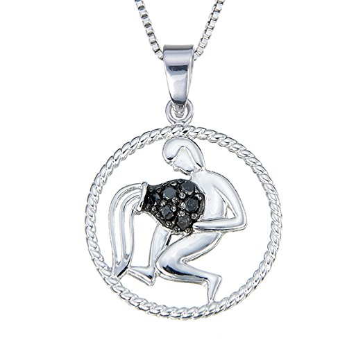 Sterling Silver 1/8 CT Black Diamond Zodiac Pendant (Aquarius)
