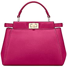 Fendi Mini Peekaboo Magenta Leather Handbag Made in Italy