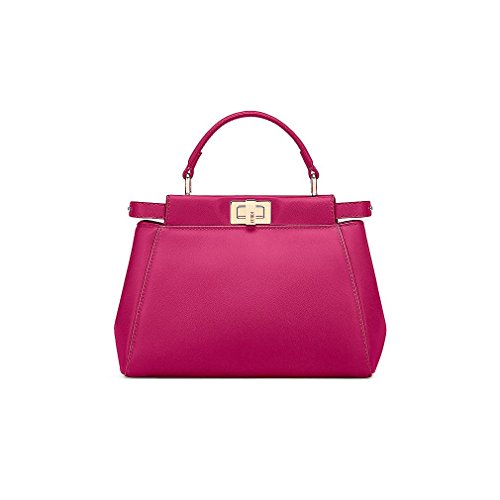 Fendi Womens Tote (Fendi Mini Peekaboo Magenta Leather Handbag Made in Italy)