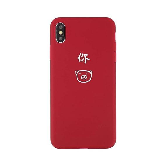 new arrival 9b7b7 9319b Amazon.com: Pig iPhone X Case Cute iPhone 6 Case Red iPhone 8 Case ...