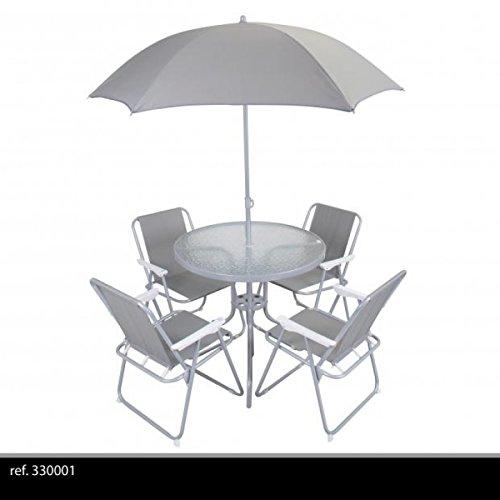 Gartenmöbel-Set 6-teilig mit Sonnenschirm rund–Gartentisch Klapptisch + 4Stühle + 1Sonnenschirm