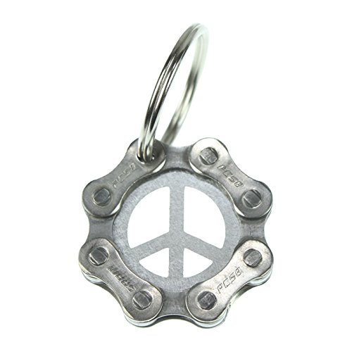 Velo Bling Designs Stainless Steel Peace Sign Key Chain by Velo Bling Designs