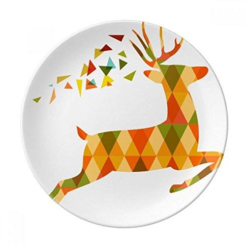 Christmas Colorful Elk Lattice Festival Dessert Plate Decorative Porcelain 8 inch Dinner (Lattice Dessert)