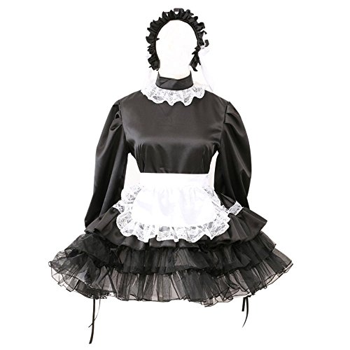 Gocebaby Sissy Black Satin Maid Long Sleeve Dress Lockable French Uniform (French Maid Uniform Dress)
