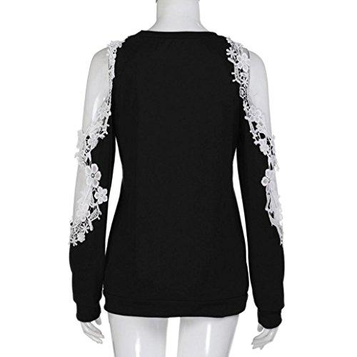 Dentelle Wolfleague Chemises S Casual Grande T Tunique Longue Pull Chemisier Femmes ~ Manche Taille XXL en Shirts Blouse Femme Noir Tops paule Shirts YxwYHAq