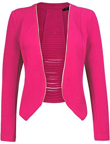 Michel Women's Open Front Lightweight Cardigan Blazer Jacket HOTPINK Medium