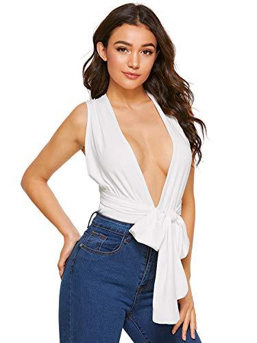 Verdusa Women's Sleeveless Sexy Deep V Neck Cross Back Bodysuit White L ()