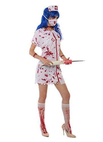 JJ-GOGO Naughty Nurse Costume - Halloween Sexy Bloody Nurse Zombie Costume for Women