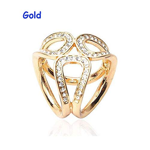3Ring Gold Silver Flowers Scarf Buckle Wedding Brooch Pins Crystal Scarf Jewelry (Model - Gold) ()