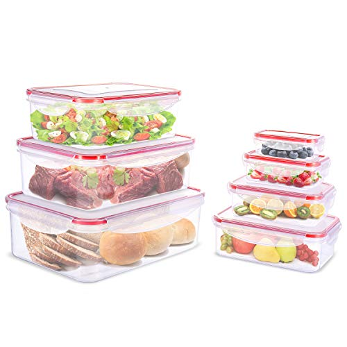 Food storage containers 7 Piece set, Lunch box set, Plastic Containers with Snap Locking Lid and Air Tight Seal – Microwave, Freezer and Dishwasher Safe, BPA ()