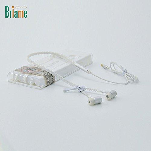 [White]Briame Cute Glow In The Dark Metal Earphones Earbuds With Mic Glowing Zipper Headset Luminous Lighting Stereo Handsfree - Uk Von Zipper