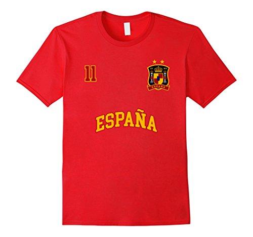 fan products of Mens Spain Shirt Number 11 Soccer Team Spanish Flag Futbol Espana 2XL Red