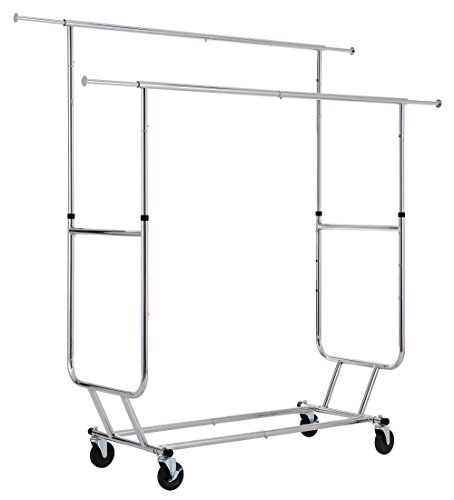 UPC 613706206234, Finnhomy Commercial Grade Adjustable Double Rail Rolling Garment Rack, Heavy Duty Extensible Clothing Hanging Rack with Lockable 4-Inch Industrial Wheels, Chrome
