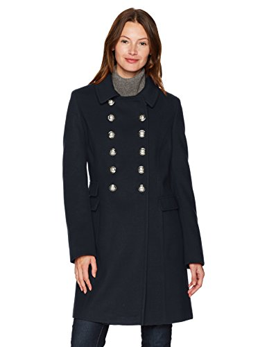 Tommy Hilfiger Women's Wool Blend Military Button Coat, Navy, Medium