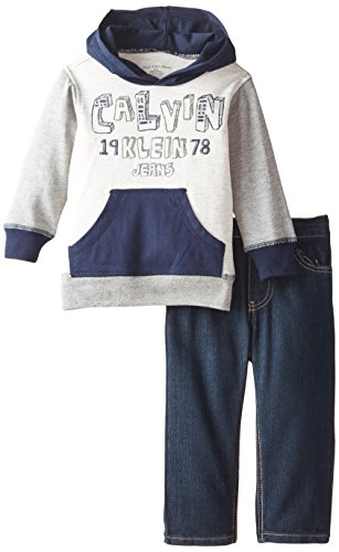 Calvin Klein Baby Boys' Gray Navy Hoody With Jeans, Multi, 12 Months