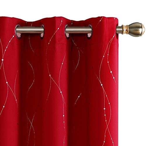 - Deconovo Red Blackout Curtains Grommet Drapes Wave Line with Dots Printed Window Curtain Panels for Bedroom Red 38W x 45L Inch Set of 2