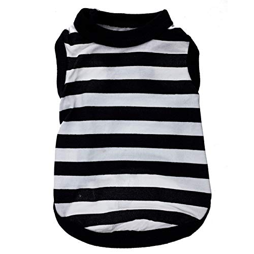 Stretch Lycra Vest Black White Stripes Pet Clothing Puppy Costume Apparel Winter Coat Dog Jacket Clothing For Small Dogs Pet Cat Puppy Sweatshirt Pig Sweater Dog Outfits Rabbit Vest (Black, L) ()