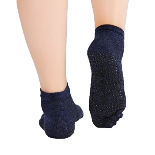 COMVIP Men Cotton Non-slip Toe Separator Solid Ankle Sport Yoga Socks Navy