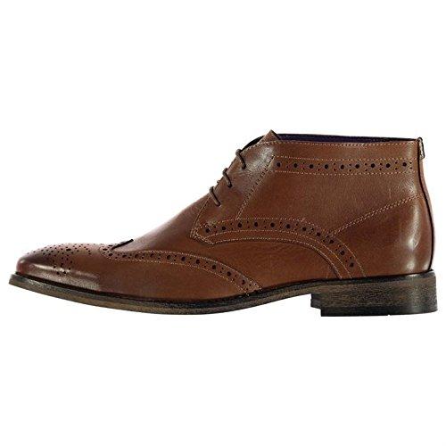 Mens Firetrap Raffles Astuto Stivali Scarpe Caviglia Hi Lace Up Leggera Tacco Perforazione Tan