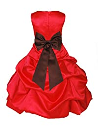 ekidsbridal Red Satin Pick-Up Bubble Flower Girl Dresses Special Occasion Dress 808T