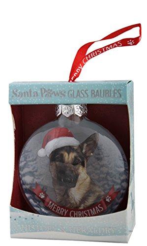 Santa Paws Glass Ornaments Santa Paws Glass Bauble - German Shepherd Ornament, Multicolor