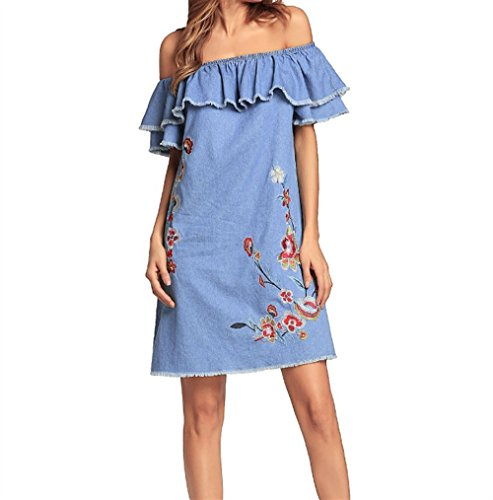 Weekendy Robe Brode Robe Ample  paules Dnudes Robe Sexy  Dentelle  Manches Volantes Bleu