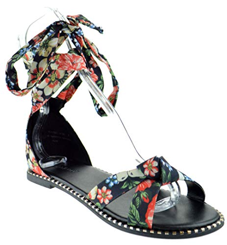 BAMBOO Minimal 41M Womens Knotted Printed Floral Ankle Wrap Open Toe Wrap Sandals (6, Black)