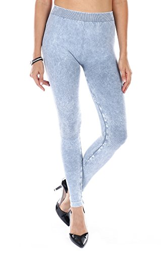NIKIBIKI Super Soft Womens Seamless Boutique Premium Leggings (Made in the USA) (ONE SIZE, NB6548 ICE BLUE)