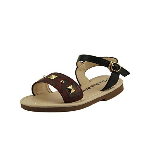 Girl's Stud Leopard Gladiator Thong Sandals Shoes Buckle Slip Toddler size (09, burgundy leopard) ()