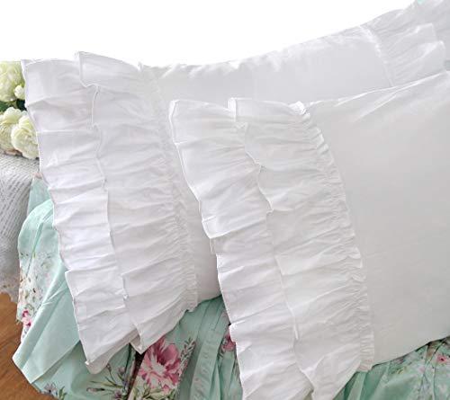 Queen's House Vintage Ruffle Pillow Sham White Pillowcase Queen Size-1 - Ruffle Sheet