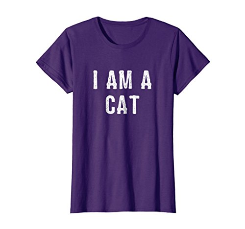 Womens I Am a Cat Halloween T Shirt Easy Costume Idea XL Purple