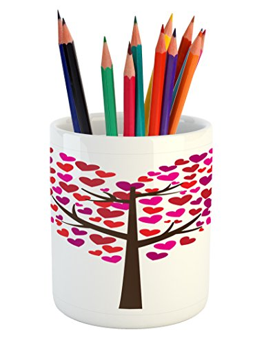 Lunarable Hearts Pencil Pen Holder, Love Themed Tree with Heart-Shaped Leaves Foliage on Branches with Colorful Design, Printed Ceramic Pencil Pen Holder for Desk Office Accessory, Multicolor
