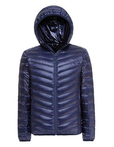 Lanmay Men's Ultralight Packable Hooded Down Jacket Puffer Down Coats Large Dark Blue