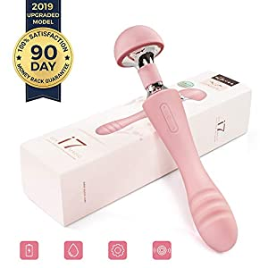 S600L Wireless Personal Wand Massager Vibrator, Therapeutic, Double Motor, Massage Powerful Hand held Magic for Women, Rechargeable Mini Stress Relief Silicone Foot Back Neck 10 Pattern
