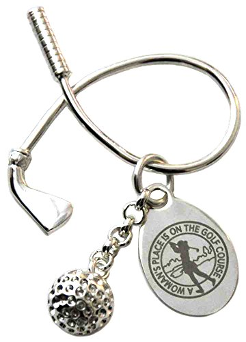 LPGA Women's Place Twisted Club & Golf Ball Key Ring, Silver, 1 2/3 x 1 (Silver Golf Club Key Ring)