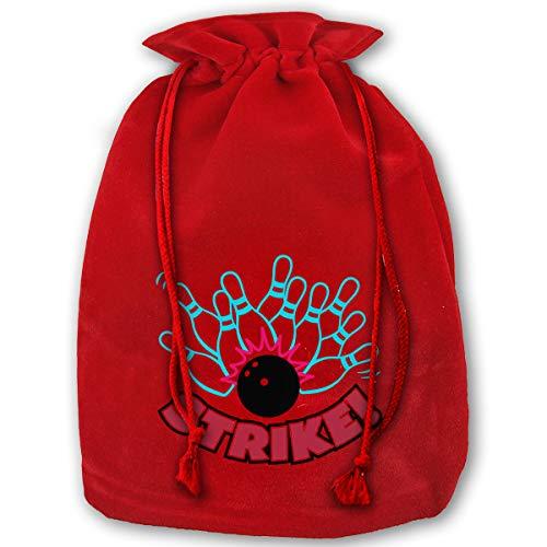 NYSOUVENIRS Bag Bowling Strike Merry Christmas Drawstring Beam Port Canvas Storage Bag Gift Bag Hometom -